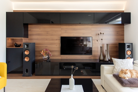 Elegante woonkamer met zwarte en eiken kasten Stockfoto - 66133402