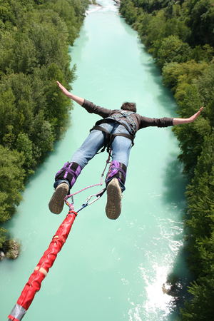 Bungee jumping in beautiful nature Stock Photo