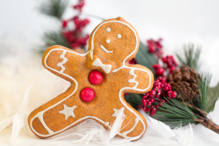 gingerbread cookie: Gingerbread Man Cookie with Christmas decoration Stock Photo