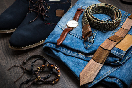 Hipster male modern accesoriess on wooden background