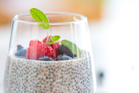 hype: Healthy chia pudding with almond milk in a glass