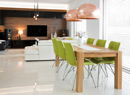 Real home interior of dinning and living room