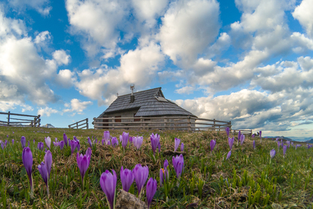 Village of cottages in Velika planina, Slovenija Stock Photo