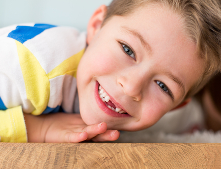 Little boy smiling withouth his milk teeth Stock Photo