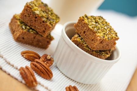 Healthy pumpkin brownies with pecan and almond milk