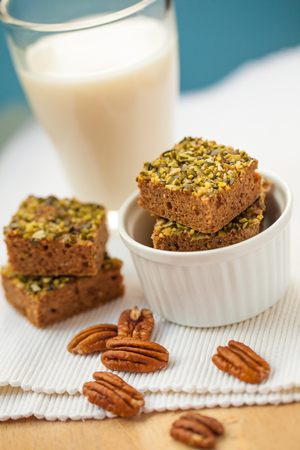 Healthy pumpkin brownies with pecan and almond milk