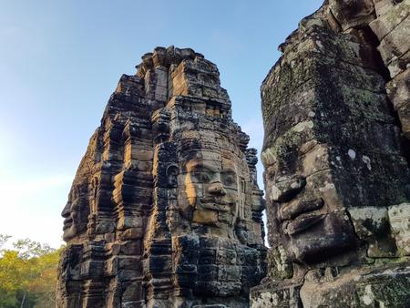 Detail of Bayon temple in Angkor Wat Stock Photo