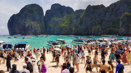 Maya Beach, Thailand, August 19th 2017: Over crowded and polluted Maya Beach