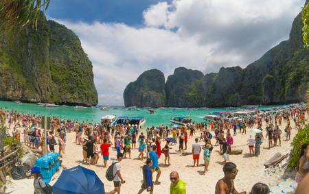 Maya Beach, Thailand, August 19th 2017: Overcrowded and polluted Maya Beach