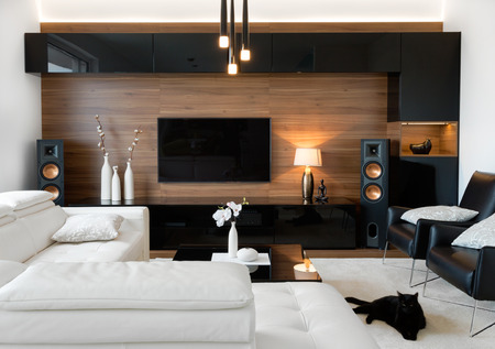 Interior moderno de la sala de estar del hogar real Foto de archivo