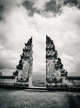 Famous bali gates at Lempuyang temple, side view