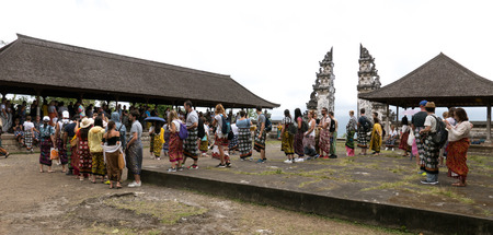 Lempuyang, Bali  Indonesia - August 16th 2018: Overcrowded balinese Lempuyang temple gates. Tourists are waiting in line for 2 hours to take a photo. 版權商用圖片