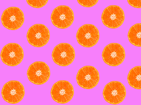 Tangerine slices isolated on pink, background