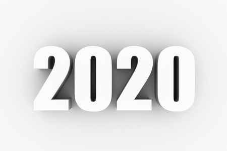 3D text of new year 2020 in white