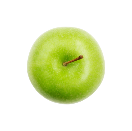 Green apple from overhead view isolated on white 版權商用圖片