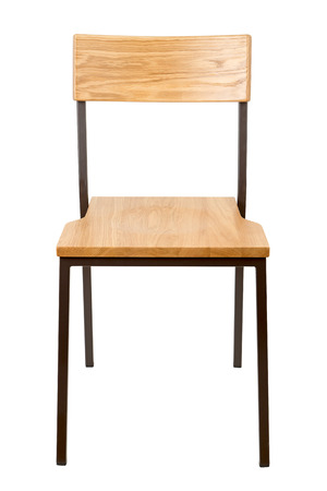 Typical school chair isolated on white, front view