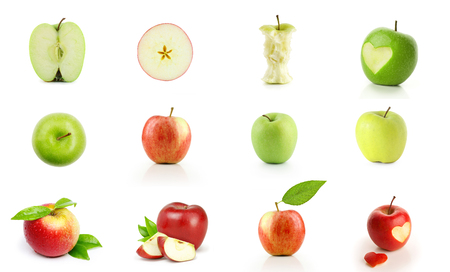 Many different view of apples isolated on white 版權商用圖片