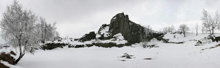 Panorama of Panska Skala in Czech republic in winter time