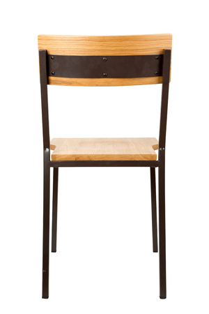Typical school chair isolated on white, back view