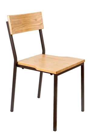 Typical school chair isolated on white, side view 版權商用圖片
