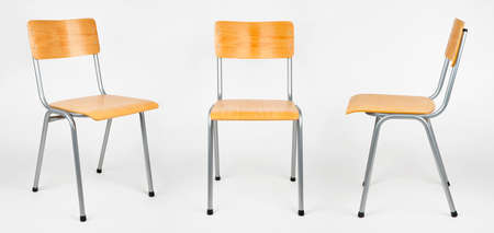 Three views of typical school chair isolated on white Stock Photo