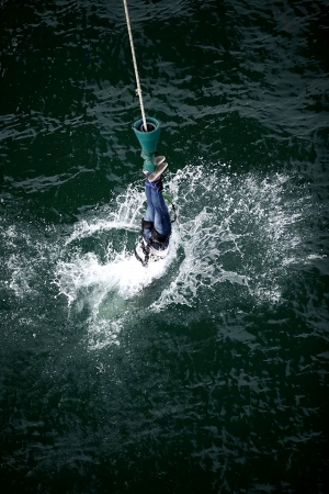 watersport: Bungee Jump with Water Dip at Auckland Harbour Bridge Stock Photo