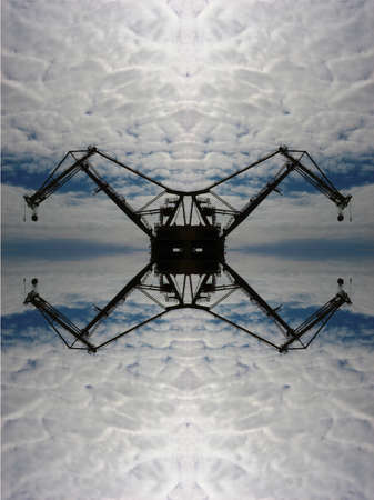 Crane against sky kaleidoscope