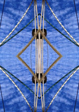 Sailing lines against sky kaleidoscope