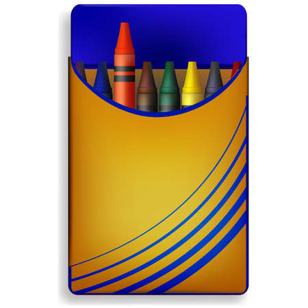useful: A vector image of a box of crayons in primary colors. useful image for school concepts. Illustration