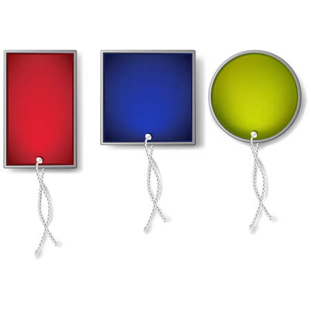 eyelet: Three colorful modern tags for your design. Illustration