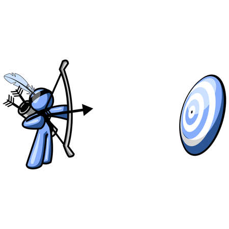 A blue man aiming his arrow at a target. Created as a business concept to show accuracy, planning, etc. Vector
