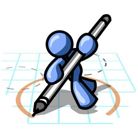 Design element of an blue man drawing blueprints.