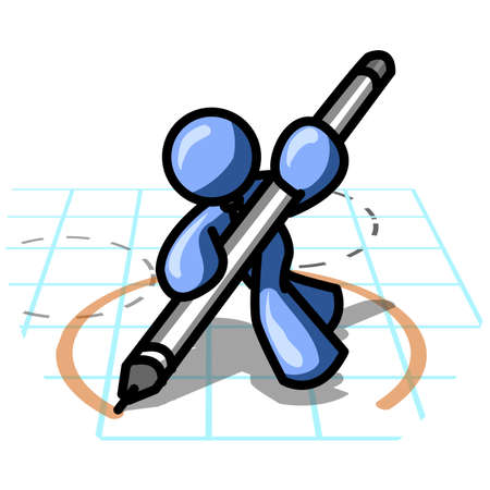 blue pen: Design element of an blue man drawing blueprints.