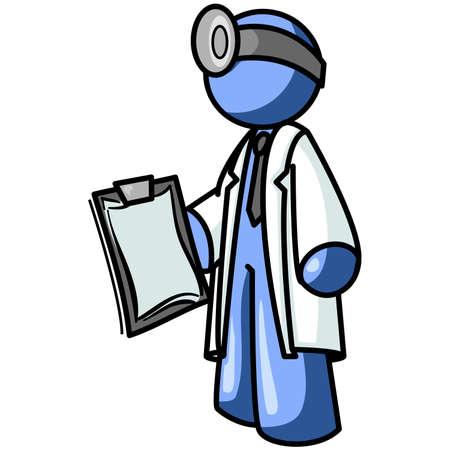 solucion de problemas: Un hombre azul m�dico que ocupe un cargo portapapeles. Puede representar m�dica, sino tambi�n t�cnicos de reparaci�n, tales como un equipo m�dico.  Vectores