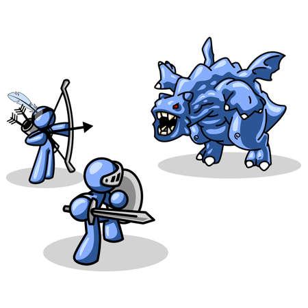 conquistando: Un concepto creado para mostrar el trabajo en equipo, personal y la conquista de obst�culos externos, financieros y cosas por el estilo. Naturalmente, el hombre azul caracteres desempe�ar esta muy bien.  Vectores