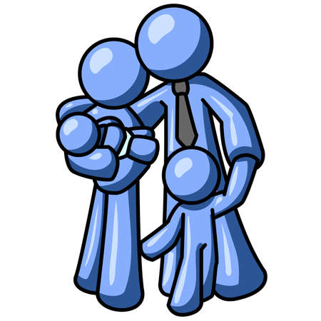 heterosexual: Un hombre de familia azul. �Puede indicar el amor, unidad, o cualquier otra cosa en relaci�n con la familia.