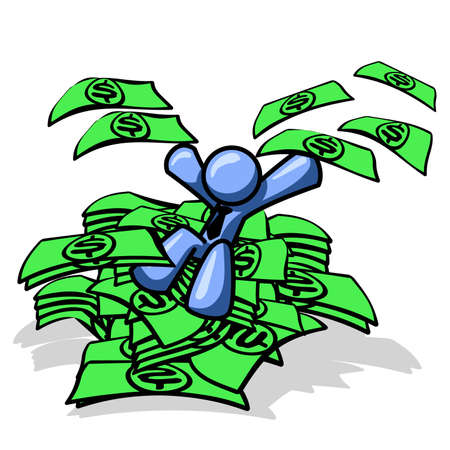 Blue man sitting on a pile of money, excited! See the rest of the series in my portfolio! Vector