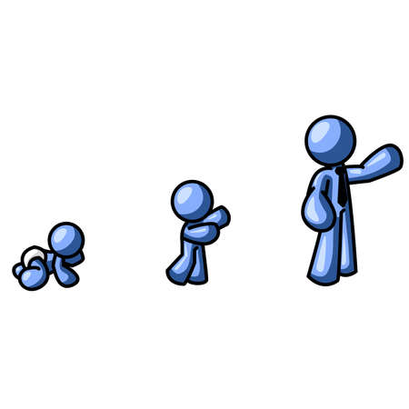 progressive: A blue man shown as a , a child, and an adult. Can be used to show the progressive steps of many things, such as projects or phases.