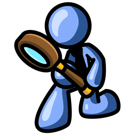 A blue man inspecting something with a magnifying glass. See the rest of the series in my portfolio!