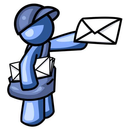 involving: Un uomo blu consegna la posta. In realt� creata come parte del computer a Internet tema della Orange Man serie, ma pu� essere utilizzato per qualsiasi cosa, con la partecipazione, anche, la posta.