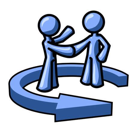 dandose la mano: Hombre azul agitando las manos. Marketing Directo, acuerdo, trabajo en equipo ... usted decide! Vectores