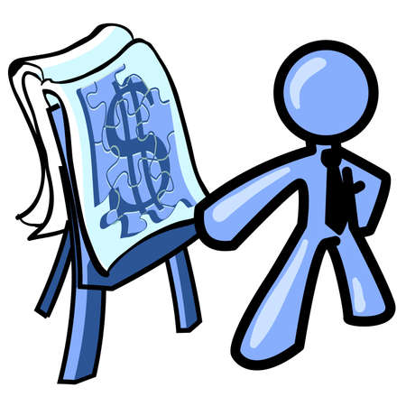 constructing: Constructing your business. A blue icon man creating a puzzle with a money symbol.