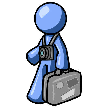 A blue man with a bag, presumably a tourist or traveller. Vector