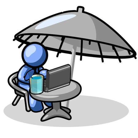 tropical drink: Un hombre azul relajante, presumiblemente en alg�n lugar tropical, disfrutando de una bebida tropical, hogar y escribir a sus familiares que se encuentran atrapados en una tormenta de nieve. Vectores