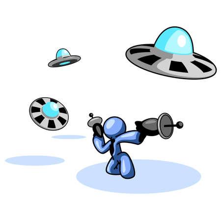 oscillation: Un hombre azul fuera de la lucha contra el ataque de un OVNI. Es maravilloso ser usado como una competencia y concepto de negocio. Vea el resto de la serie en mi cartera. Hay muchas opciones.  Vectores