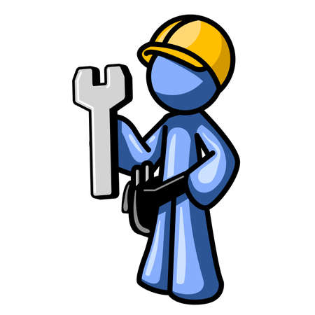 Blue man holding a wrench, with a hard hat. Icon made for website construction, etc. See the rest of the series in my portfolio. There are many options.
