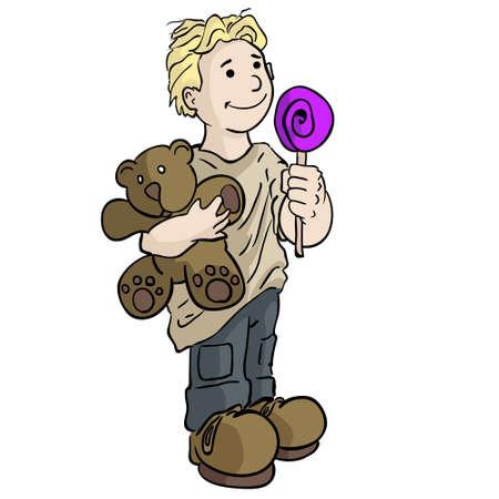 Boy with Teddy Bear Illustration