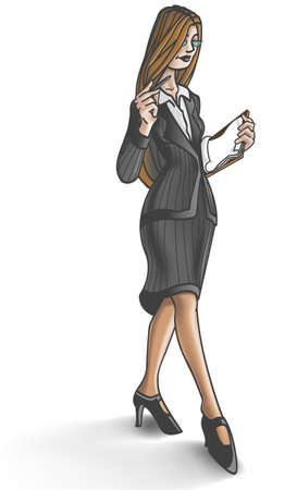 heals: Business woman walking with clipboard.