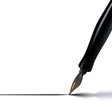 A calligraphy pen drawing a straight line, casting a nice shadow in the exact same direction of stroke. Fine, precise, elegant. Vector