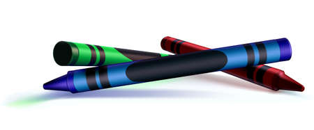 color theory: Red, Green, Blue, (RGB), crayons created to be a versatile design element. Back to school, Color theory, you name it! The dark area on the blue crayon is meant for your own writing.